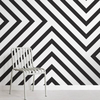 Black and White Striped Wallpaper Mural