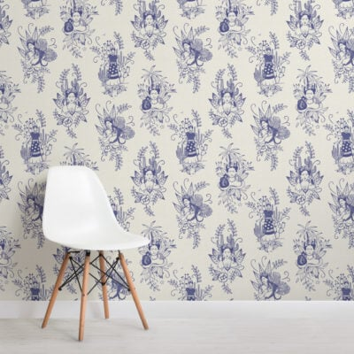 2-blue-frida-kahlo-floral-repeat-pattern-wallpaper-Plain