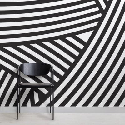 Layered Black and White Wallpaper Mural