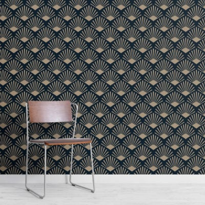 2-gold-and-navy-art-deco-fan-repeat-pattern-wallpaper-Plain