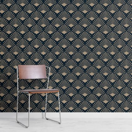 Gold & Navy Art Deco Fan Repeat Pattern Wallpaper Image