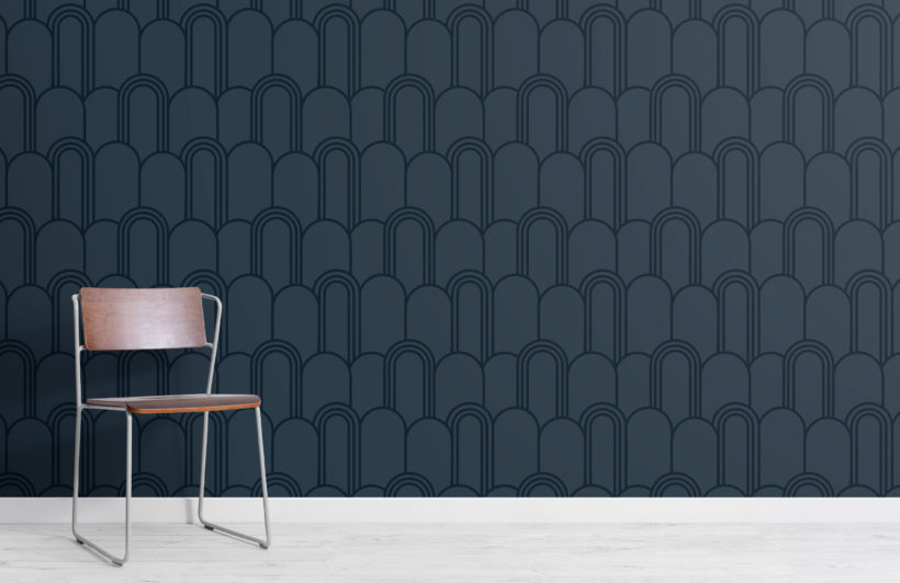 2-navy-blue-art-deco-arch-repeat-pattern-wallpaper-Plain