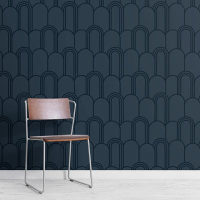 2-navy-blue-art-deco-arch-repeat-pattern-wallpaper-Plain