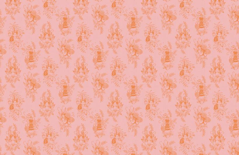 2-pink-frida-kahlo-floral-repeat-pattern-wallpaper-Plain