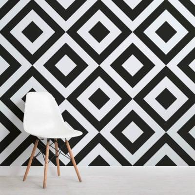 Geometric Black and White Wallpaper Mural