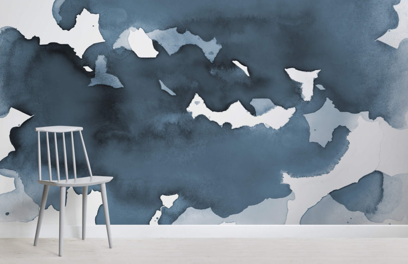 Deep Blue Watercolour Wallpaper Mural