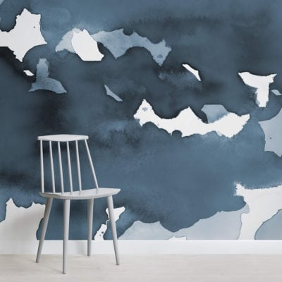 Deep Blue Watercolour Wallpaper Mural