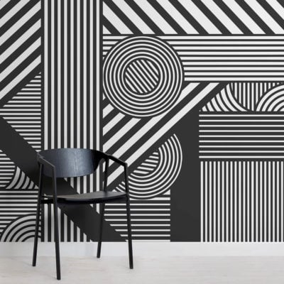 Geometric Black and White Wallpaper Mural
