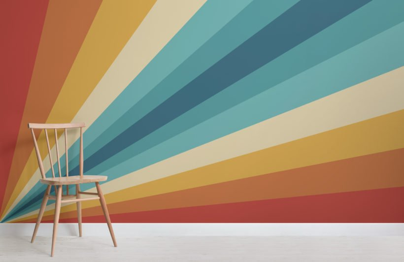 70's bold multicolor stripes retro wallpaper mural