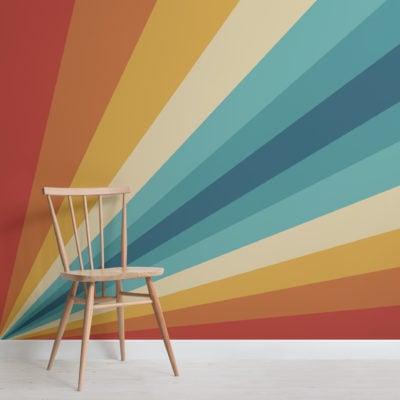 70's bold multicolor stripes retro wallpaper mural