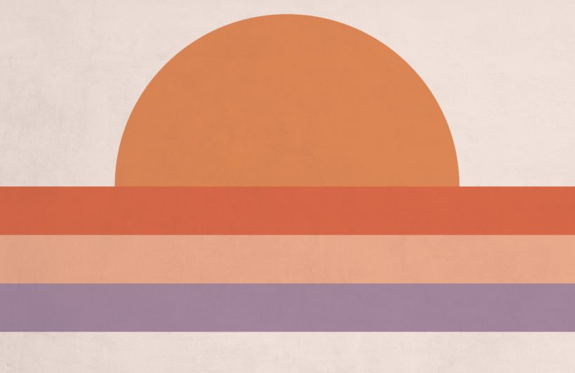 70's orange sunset block color retro wallpaper mural