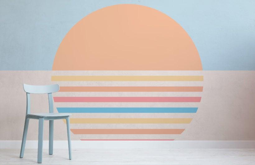70's pastel block color sun retro wallpaper mural