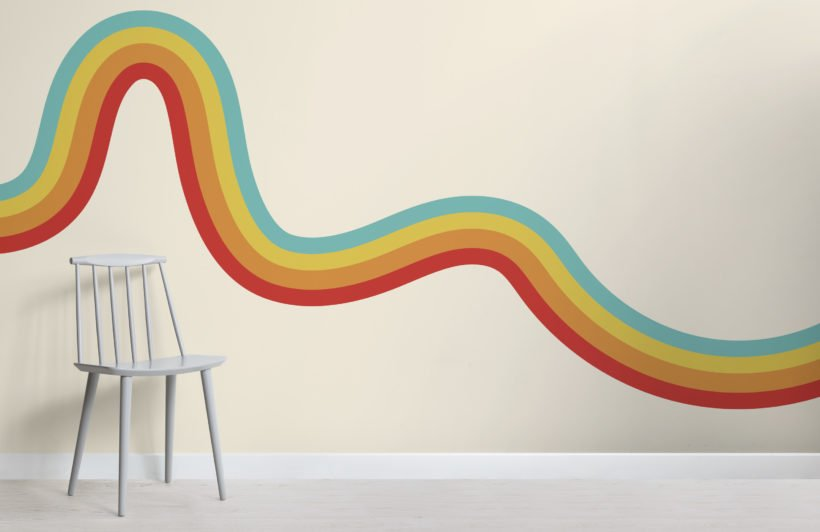 70's rainbow wave retro wallpaper mural
