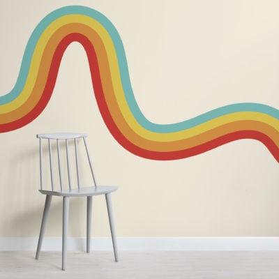 70's rainbow wave retro wallpaper mural