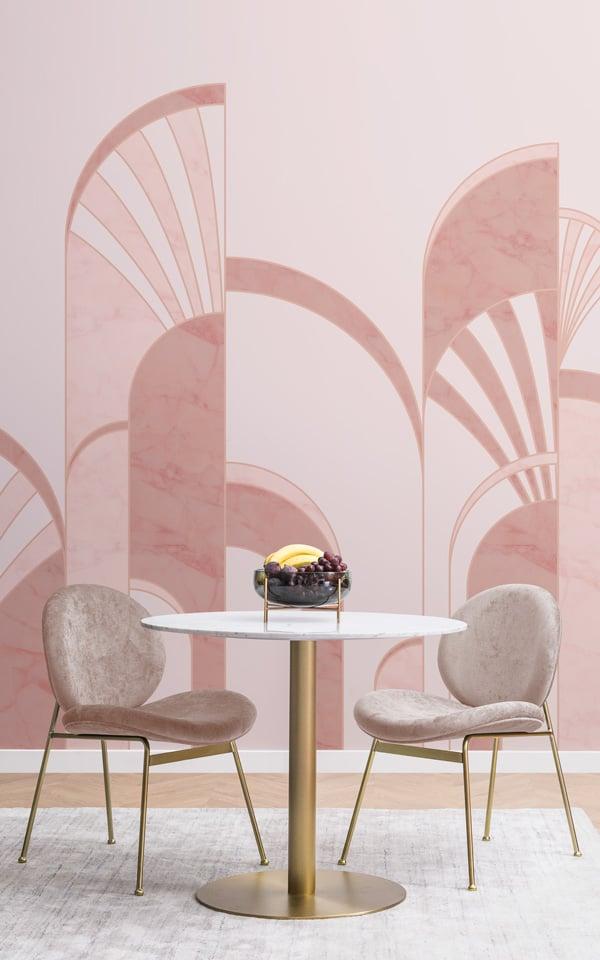 pink art deco print wallpaper