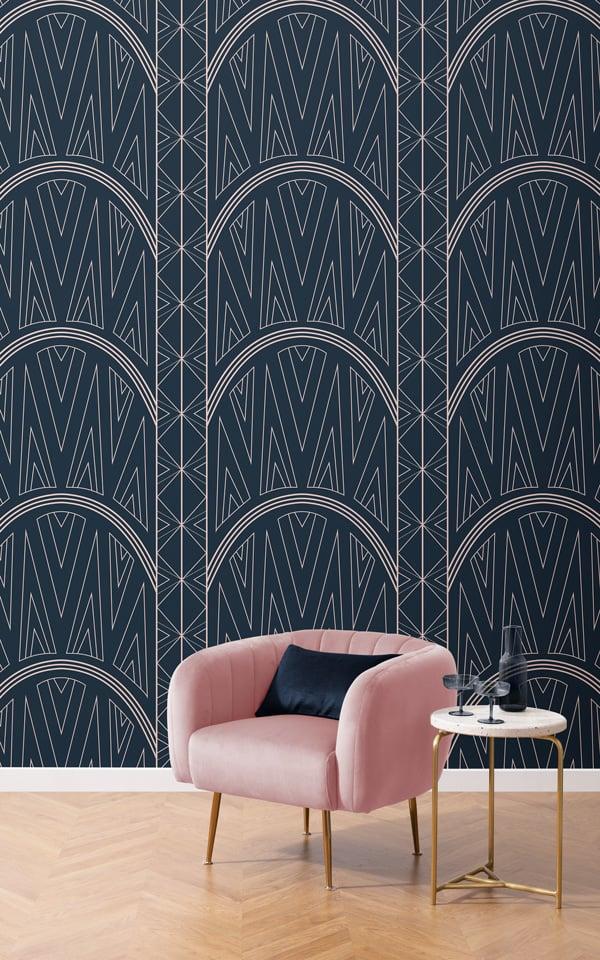 blue art deco Chrysler pattern wallpaper