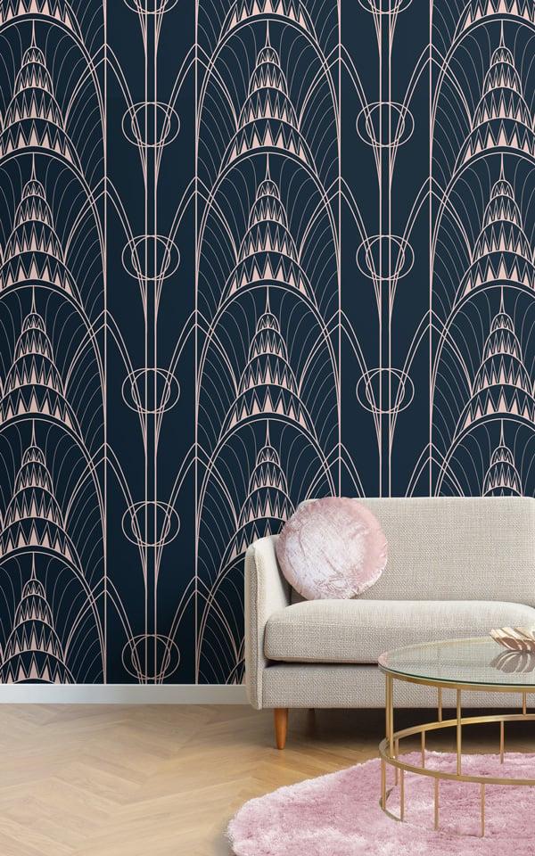blue art deco chrysler building wallpaper