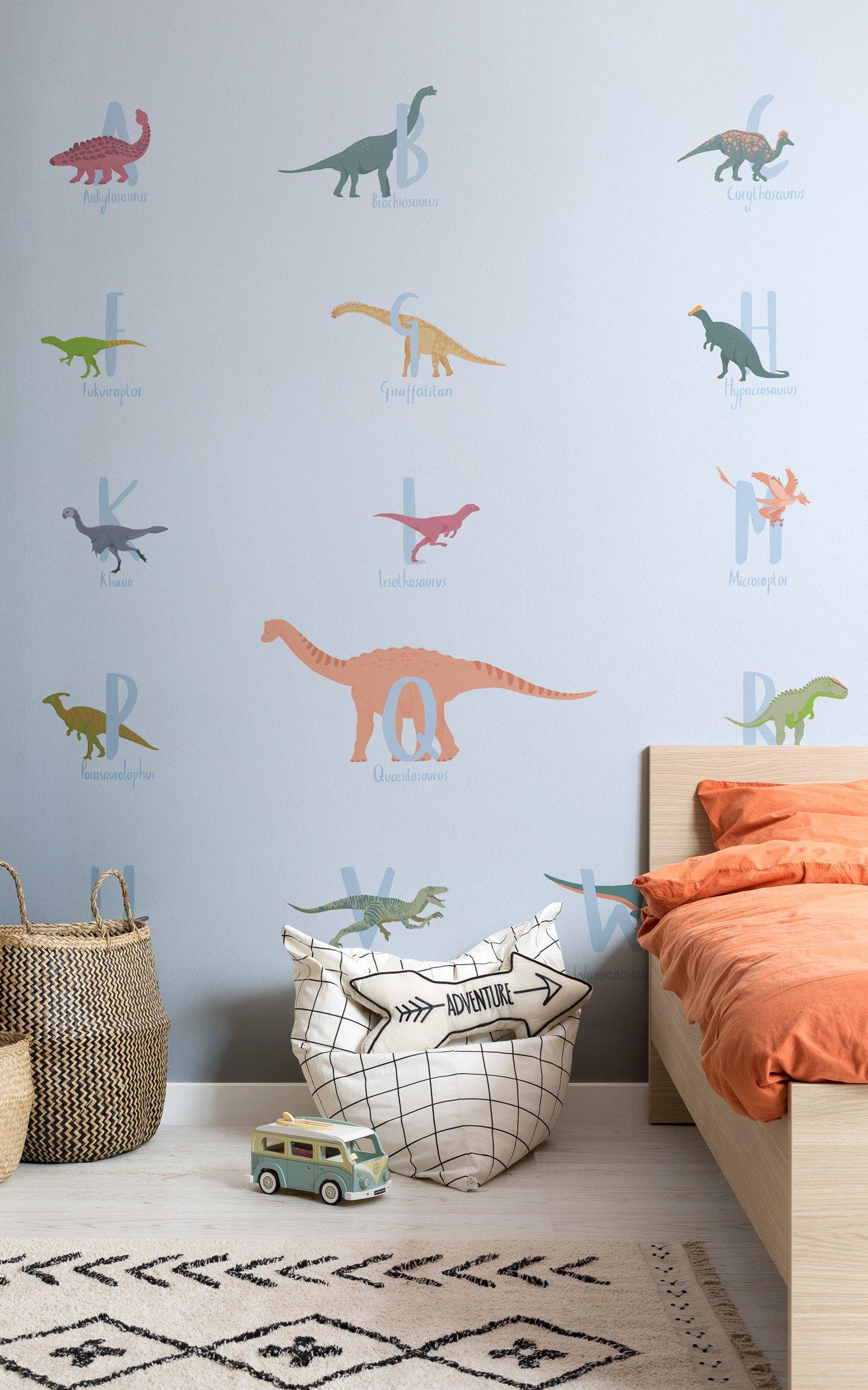 Alpha Blue dinosaur wallpaper in kids bedroom