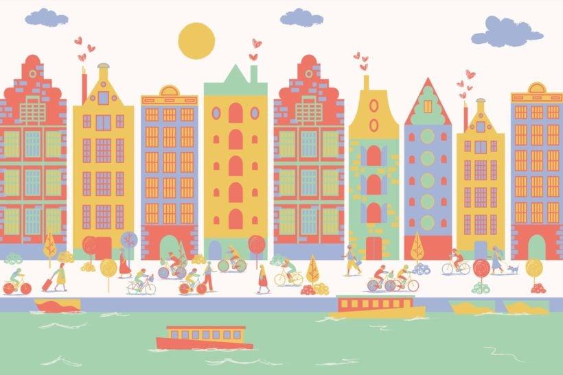 Amsterdam City Living Mural Wallpaper