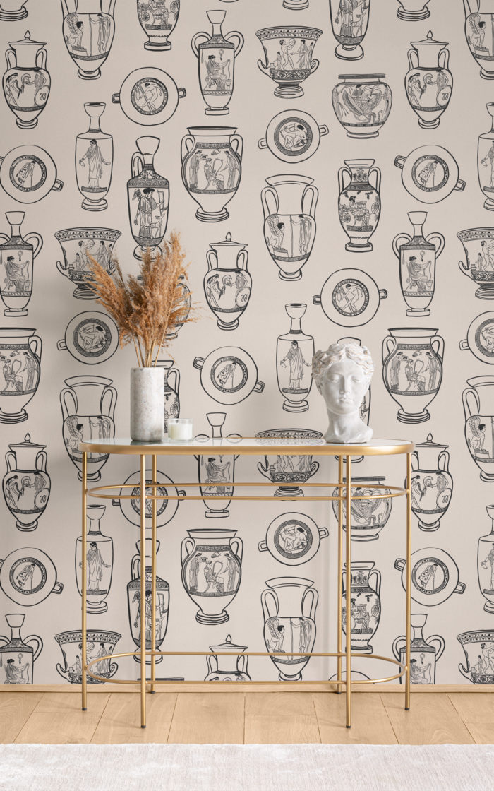Ancient Greece pottery wallpaper mural in room setting