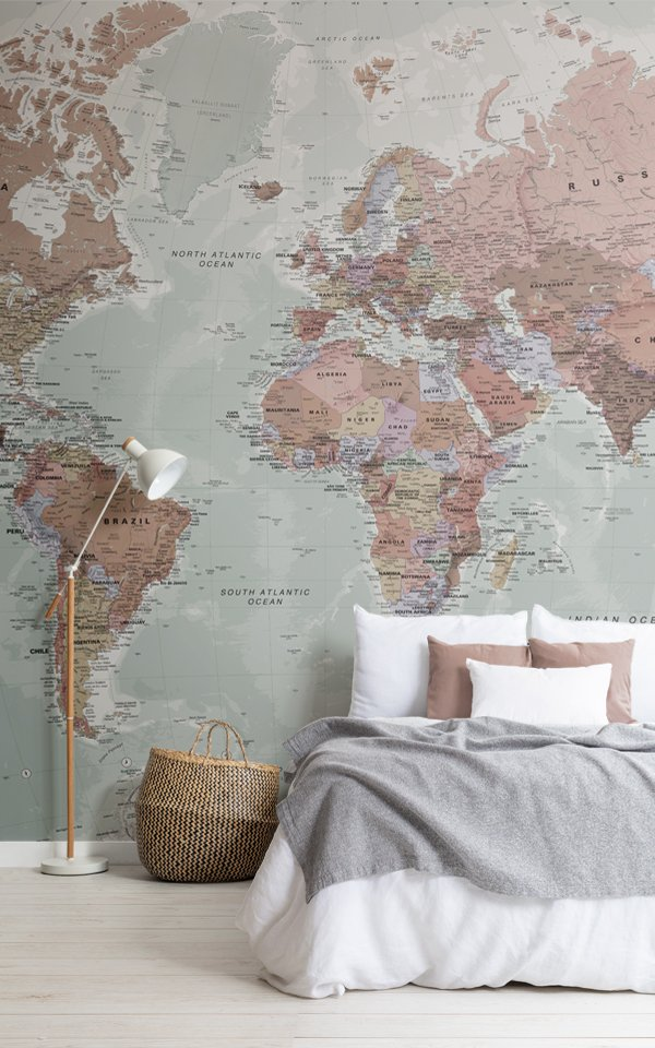 Classic World Map Wallpaper Mural Image