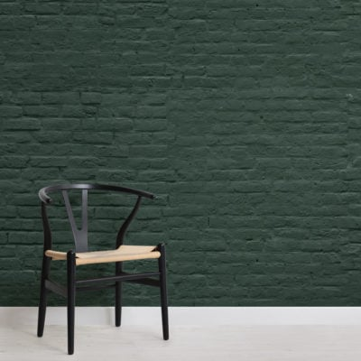 dark green brick effect wallpaper mural