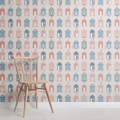 Beach Hut Pattern Seaside Wallpaper Mural