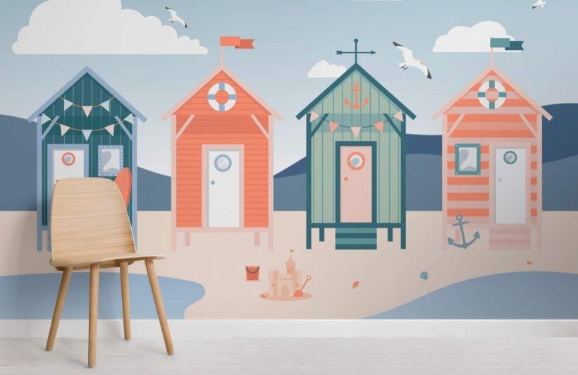 Beach Hut Seaside Wallpaper Mural-SquBeach Hut Seaside Wallpaper Mural