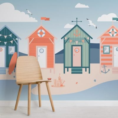 Beach Hut Seaside Wallpaper Mural-SquBeach Hut Seaside Wallpaper Mural