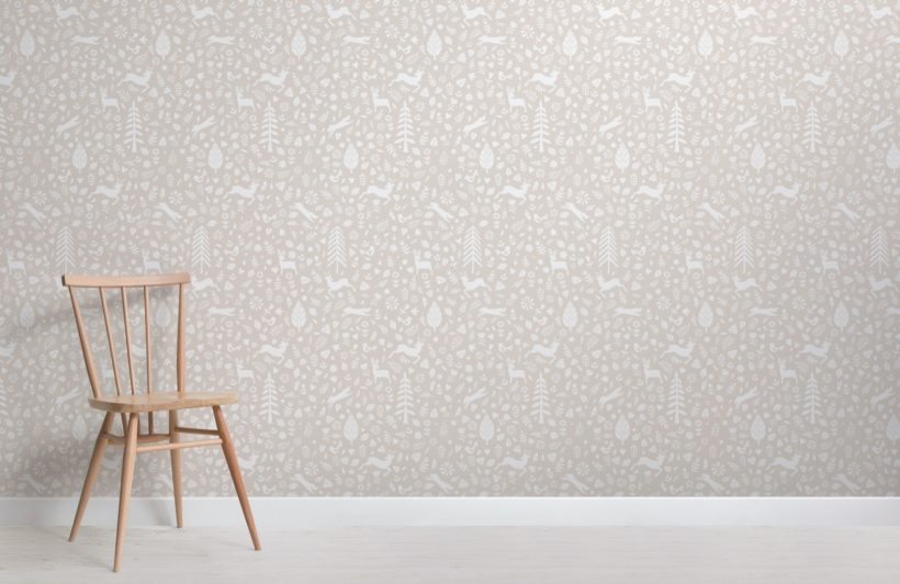 Beige Festive Pattern Scandinavian Folk Art Wallpaper Mural