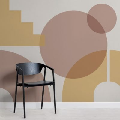 Beige Geometric Shapes Modern Bauhaus Wallpaper Mural