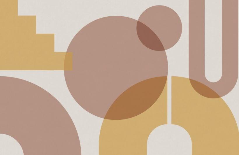 Beige Geometric Shapes Modern Bauhaus Wallpaper Mural
