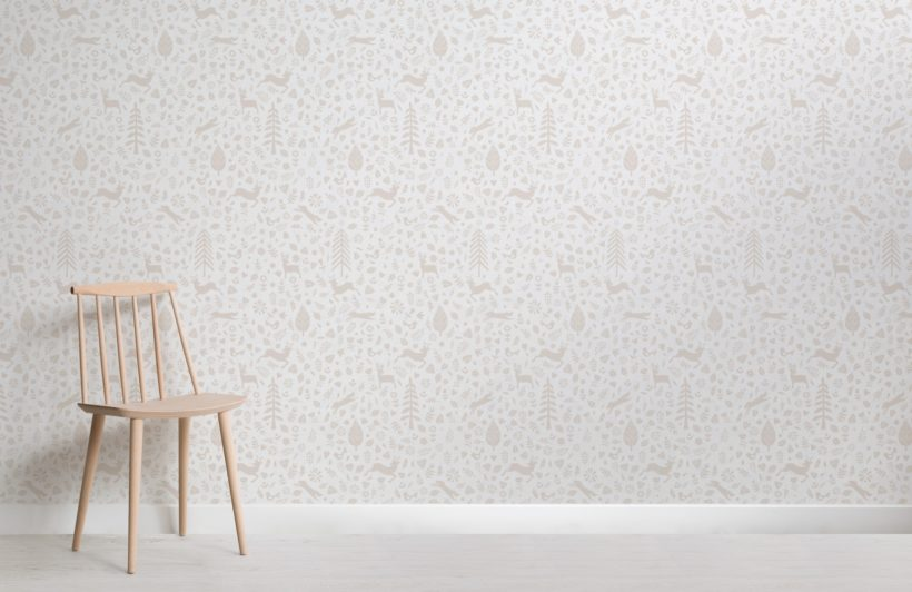 Beige and White Festive Pattern Scandinavian Folk Art Wallpaper Mural