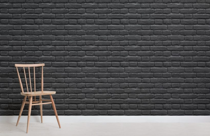 Black Painted Brick Effect Wallpaper Mural