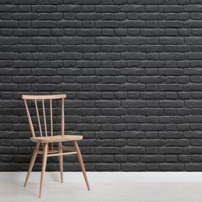 Black Painted Brick Effect Wallpaper Mural