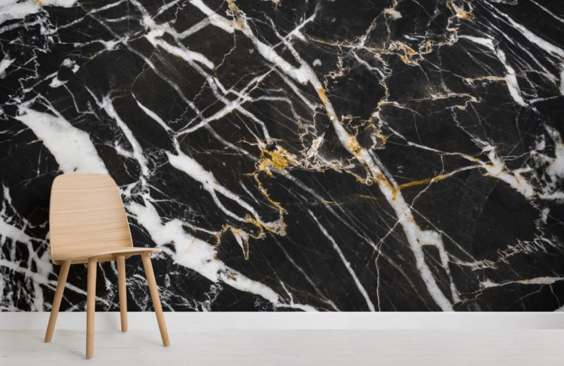 Black, White and Gold Dark Marble Effect Wallpaper Mural