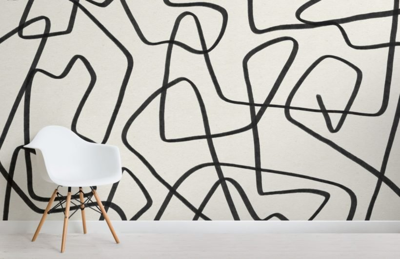 Black-and-Beige-Cool-Doodle-Abstract-Wallpaper-Mural