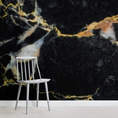 Black and Gold Dark Marble Effect Wallpaper Mural