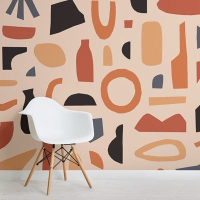 Black and Orange Abstract Shapes Wallpaper Mural