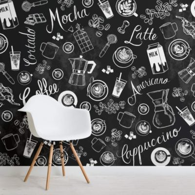 Black and White Coffee Cup Pattern Wallpaper Mural