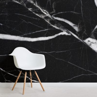 Black and White Dark Marble Effect Wallpaper Mural