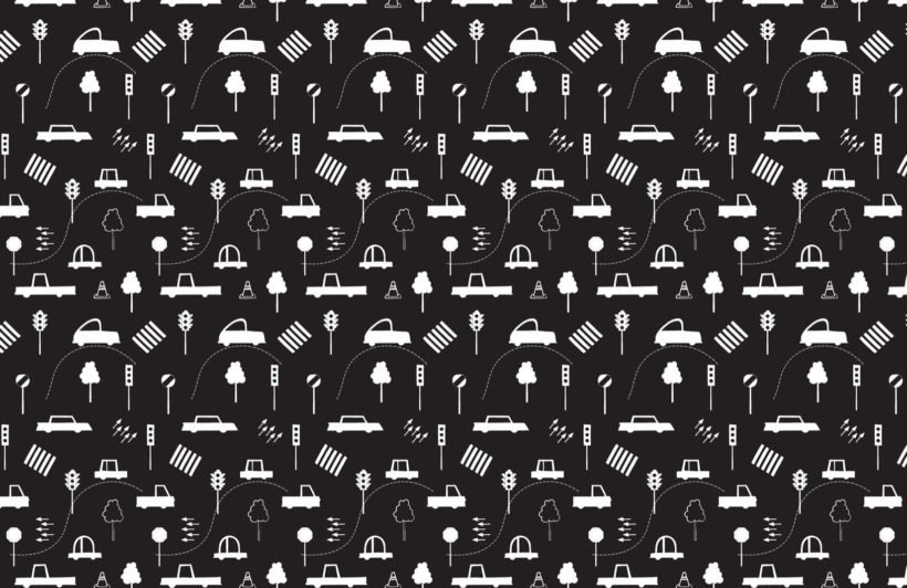 Black and White Traffic Jam Wallpaper Mural