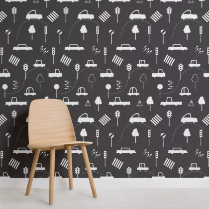 Black & White Traffic Jam Repeat Pattern Wallpaper Image