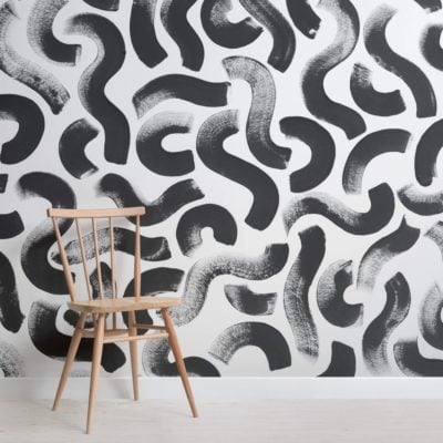 Black Paint Brush Strokes Abstract Wallpaper Mural