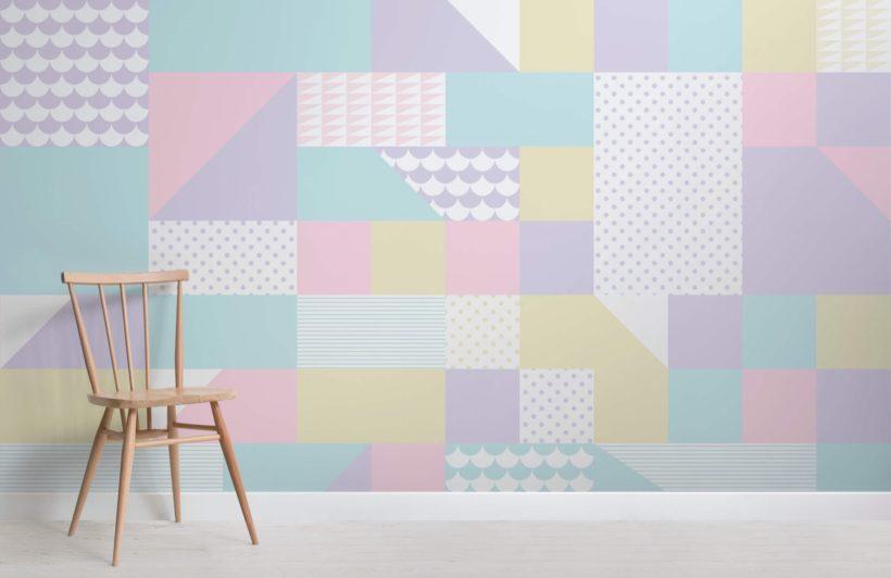 Block Pattern Geometric Pastel Wallpaper Mural