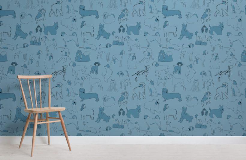 Blue Bulldog and Sausage Dog Pattern Pet Wallpaper Mural