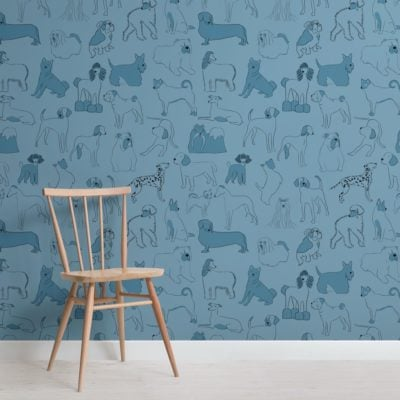Blue Bulldog and Sausage Dog Pattern Pet Wallpaper Mural