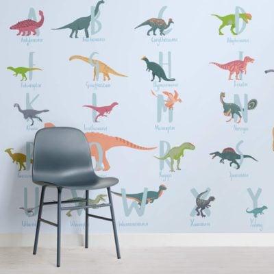 Blue Cartoon Dinosaur Alphabet Wallpaper Mural