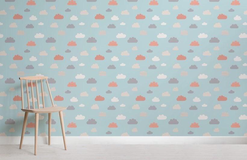 Blue Kids Rain Cloud Pattern Wallpaper Hovia Ca