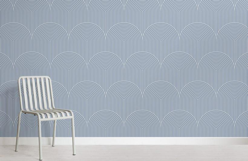 Blue Circuit Design Geometric Striped Wallpaper Mural